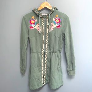 Anthro Solitaire Zip Floral Embroidered Hoodie Top